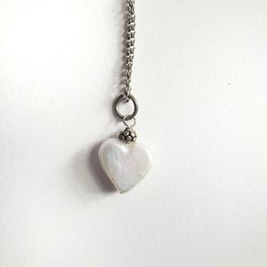 Pearl Heart Necklace Silver Chain
